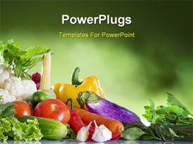 PowerPoint template displaying close up view of nice fresh vegetables on green summer back in the background.