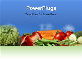 PowerPoint template displaying lots of fresh vegetables on a blue colored background