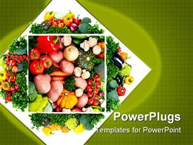 PowerPoint template displaying healthy diet concept with close up on vegetable plate with tomatoes, red pepper, yellow pepper, onion, potatoes, eggplant, mushrooms, carrots and pumpkins