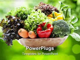 PowerPoint template displaying combination of Vegetables