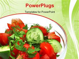 PowerPoint template displaying fresh raw vegetable salad in transparent bowl in the background.