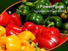 PowerPoint template displaying a beautiful depiction of a collection of vegetables with greenish background