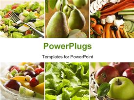 PowerPoint template displaying collage of a healthy vegetables and fruit food