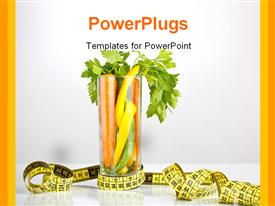 PowerPoint template displaying healthy diet with carrot and vegetables in glass and measuring tape