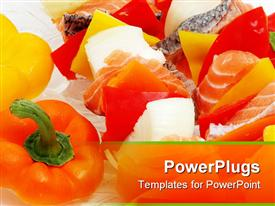 Salmon and veggies on a skewer powerpoint design layout