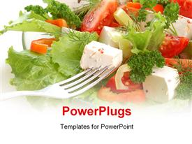 PowerPoint template displaying fork in dish of vegetable salad, tomato and lettuce
