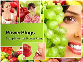 PowerPoint template displaying four colorful tiles of three ladies and a girl eating different  furuits