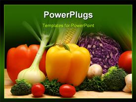 PowerPoint template displaying a number of vegetables with green background