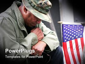 PowerPoint template displaying an adult army veteran kneeling beside an American flag