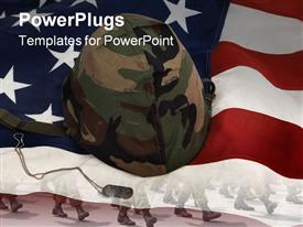 PowerPoint template displaying us army helmet and dog tag on us flag background