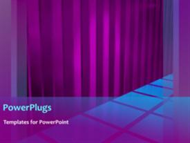 PowerPoint template displaying animated background of blue squares on floor with purple curtain folds