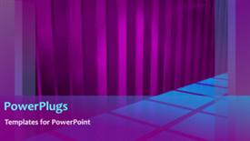 PowerPoint template displaying animated background of blue squares on floor with purple curtain folds - widescreen format