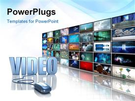 PowerPoint template displaying silver mouse plugged into Video next to wall of screens