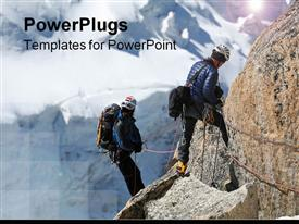 PowerPoint template displaying a beautiful representation of mountain climbers looking towards the same mountain