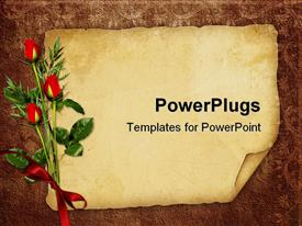 PowerPoint template displaying vintage background with old paper for invitation or postcards with three red roses tied with red ribbon