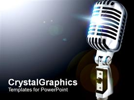 PowerPoint template displaying vintageMic108 in the background.