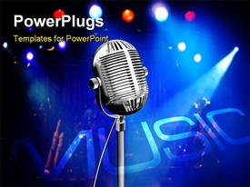 PowerPoint template displaying vintage microphone on stage with colorful reflectors on the background