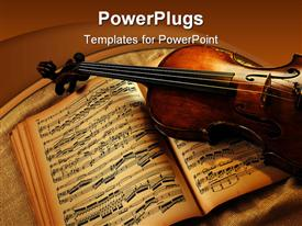 PowerPoint template displaying old violin laying on brown music book showing musical notes