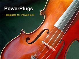 PowerPoint template displaying close-up of classic violin on green colored surface