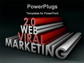 PowerPoint template displaying black background with 3D rendering WEB VIRAL MARKETING