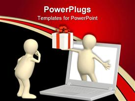PowerPoint template displaying virtual gift. 3D puppet with gift and laptop