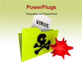 PowerPoint template displaying computer virus folder rendering depiction in the background.