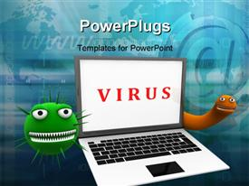 PowerPoint template displaying laptop with viruses around on a web background
