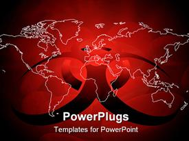 PowerPoint template displaying editable depiction of World map with virus sign in red color in the background.