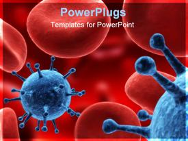 Illustration with virus and blood cells powerpoint theme