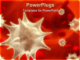 PowerPoint template displaying viruses floating among erythrocytes