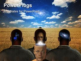 PowerPoint template displaying a beautiful depiction of various figures with heir head filled with galaxies