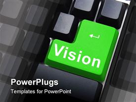 PowerPoint template displaying a big green tab with   a text that spella out the word