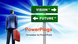 PowerPoint template displaying 3D business professional gaze at road signs VISION st and FUTURE rd