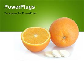 PowerPoint template displaying large pills with orange fruits tube on bright background