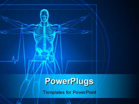 PowerPoint template displaying body and skeleton Vitruvian man in blue