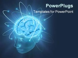 PowerPoint template displaying electrons revolve around the brain. Concept of idea the power of mind in the background.