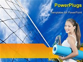 PowerPoint template displaying volleyball net on a island in the Indian Ocean Maldives in the background.