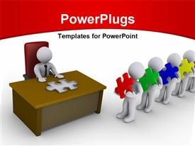 PowerPoint template displaying people wait in line holding puzzle pieces in front of a person sitting behind a desk having a mold