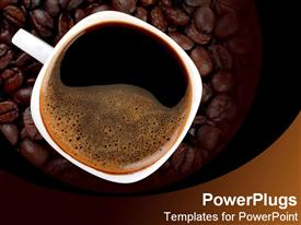PowerPoint template displaying white mug of hot coffee over brown espresso beans