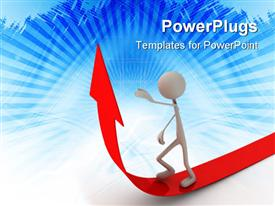 PowerPoint template displaying white 3D figure walks on red arrow