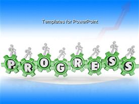 PowerPoint template displaying a number of greenish gears with bluish background