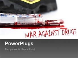PowerPoint template displaying close up view of a syringe with blood and a text spelling out some words