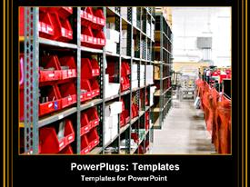 PowerPoint template displaying warehouse work, red bins placed in warehouse isles
