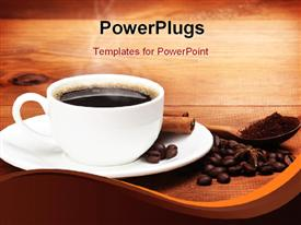 PowerPoint template displaying warm cup of coffee with beans on a wooden background