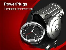 PowerPoint template displaying silver watch with black face in front of overturned chrome trash can