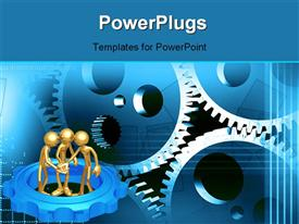 PowerPoint template displaying three 3D gold plated men working together with connected gears