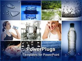 Beautiful water theme collage made from eight photographs presentation background