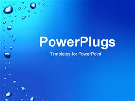 PowerPoint template displaying blue background with water drops in the background.