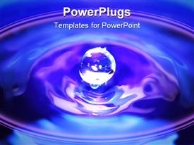 PowerPoint template displaying a drop of water making a ripple effect with blue background