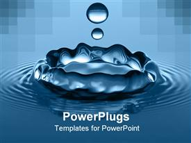 Close-up of water droplets splashing into a calm body of water template for powerpoint